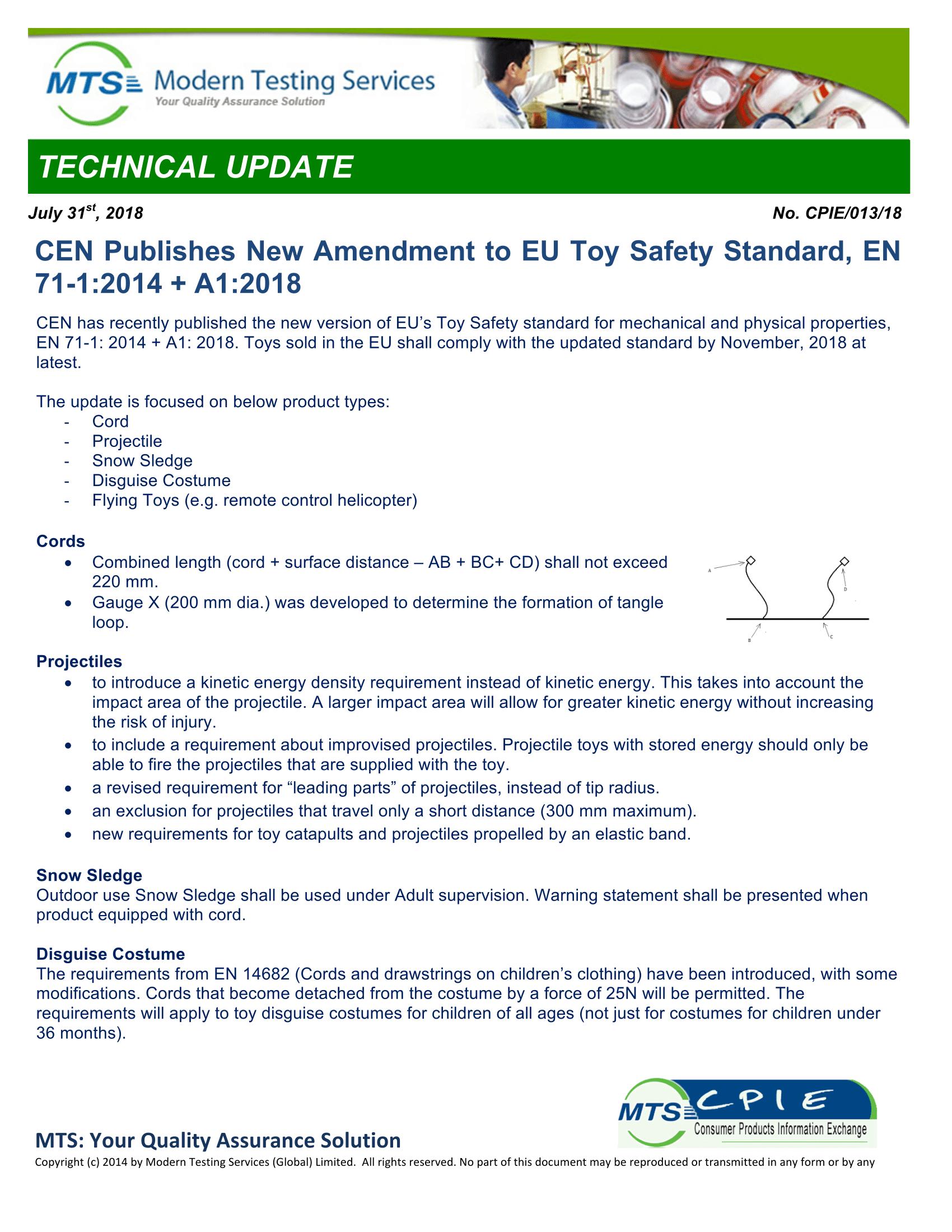 CPIE-013-18 CEN Publishes New Amendment to EU Toy Safety Standard EN 71-1-2014  A1-2018-1