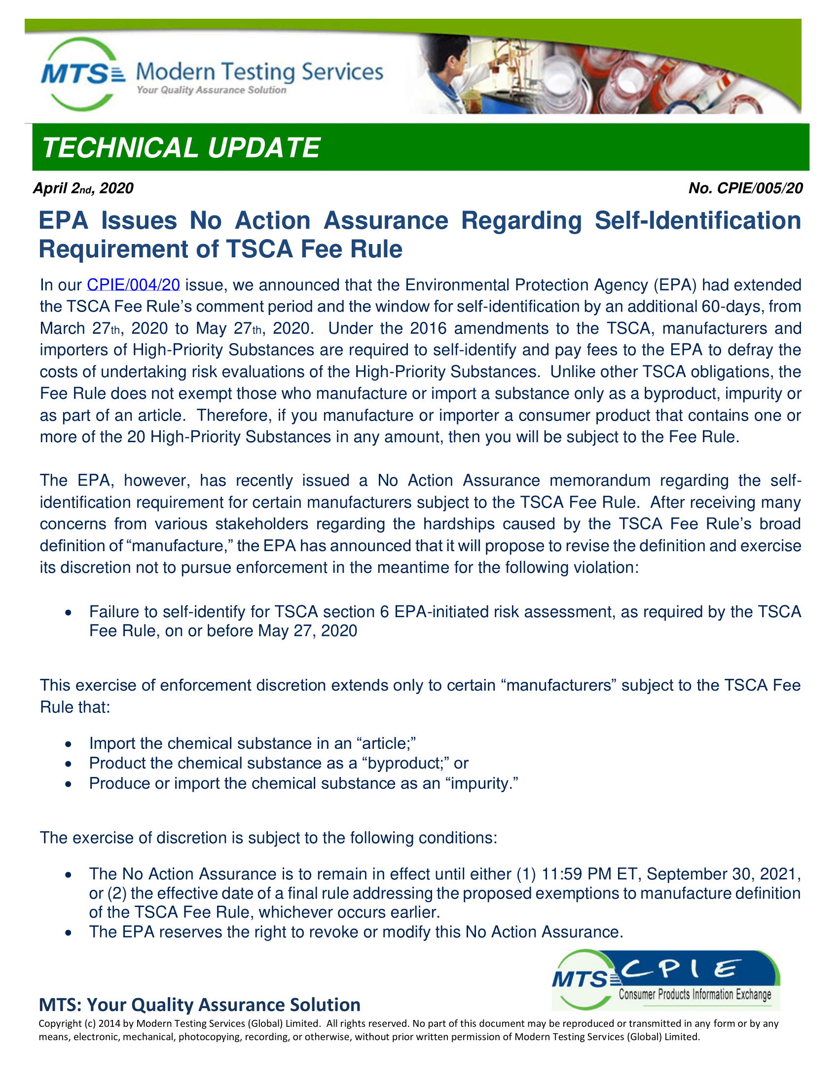 CPIE-005-20 EPA Issues No Action Assurance 1
