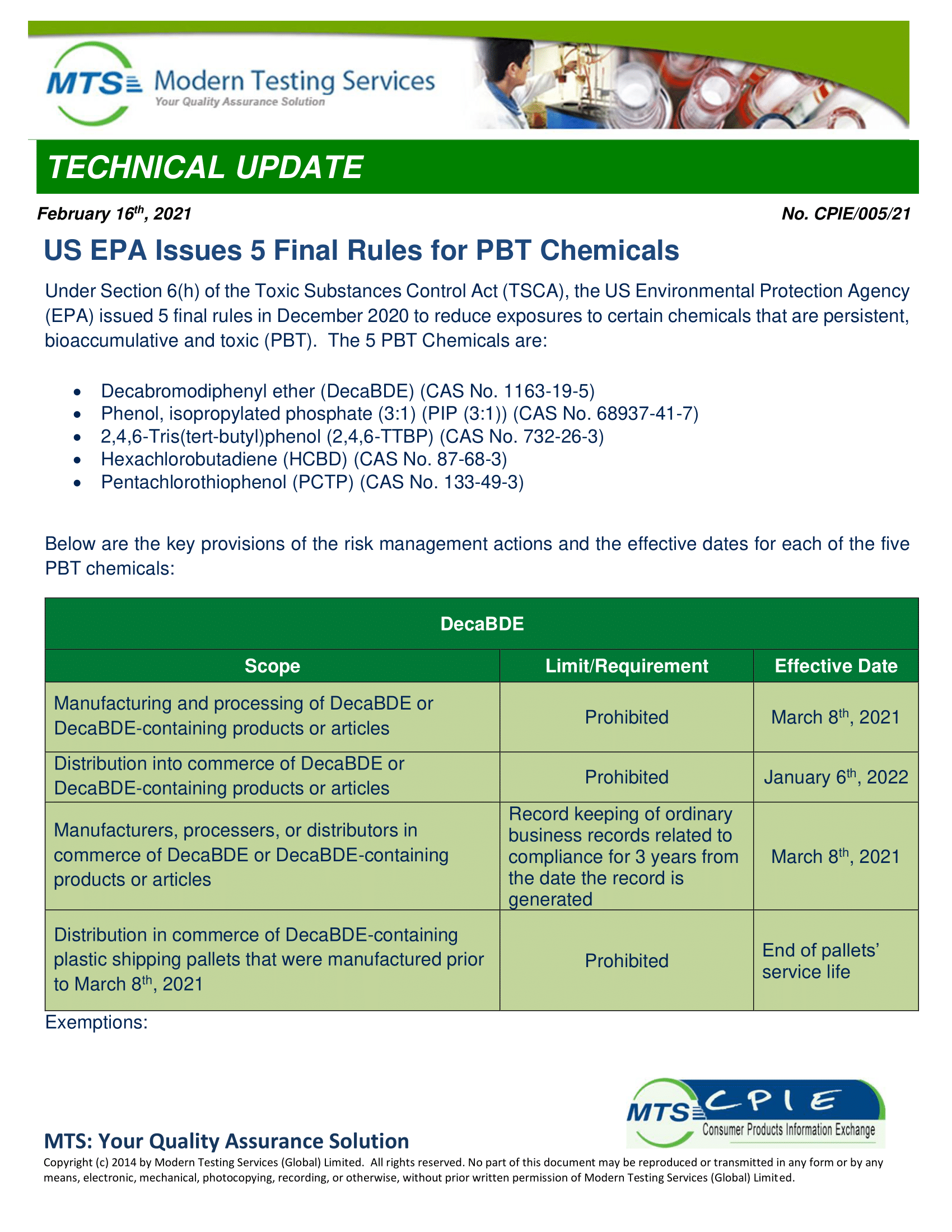 CPIE-005-21 US EPA Issues 5 Final Rules for PBT Chemicals-1