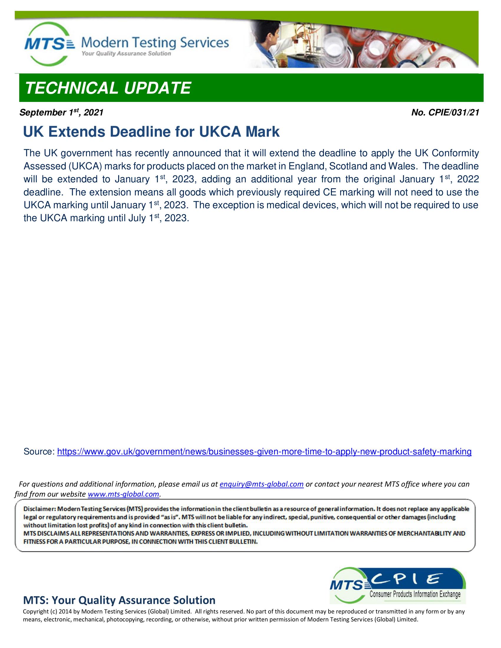 CPIE-031-21 UK Extends Deadline for UKCA Mark-1